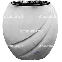 Flowers pot Soave 19cm - 7,5in In Sivec marble, plastic inner