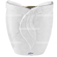 Flowers pot Gres 19cm - 7,5in In Sivec marble, golden steel inner