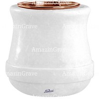 Flowers pot Calyx 19cm - 7,5in In Sivec marble, copper inner