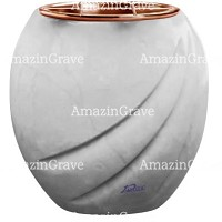 Flowers pot Soave 19cm - 7,5in In Sivec marble, copper inner