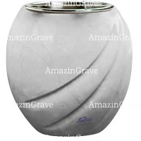 Flowers pot Soave 19cm - 7,5in In Sivec marble, steel inner