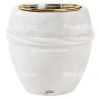 Flowers pot Chordè 19cm - 7,5in In Sivec marble, golden steel inner