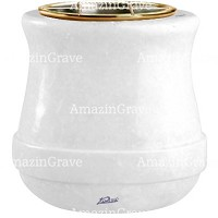 Flowers pot Calyx 19cm - 7,5in In Sivec marble, golden steel inner