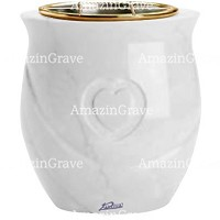 Flowers pot Cuore 19cm - 7,5in In Sivec marble, golden steel inner