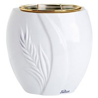 Flowers pot Spiga 19cm - 7,5in In Sivec marble, golden steel inner