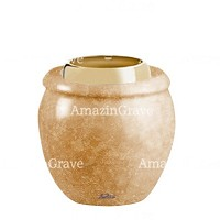 Base for grave lamp Amphòra 10cm - 4in In Travertino marble, with golden steel ferrule