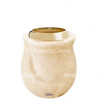 Base for grave lamp Gondola 10cm - 4in In Travertino marble, with golden steel ferrule