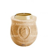 Base for grave lamp Cuore 10cm - 4in In Travertino marble, with golden steel ferrule
