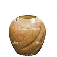 Base for grave lamp Soave 10cm - 4in In Travertino marble, with golden steel ferrule