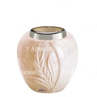 Base for grave lamp Spiga 10cm - 4in In Travertino marble, with steel ferrule