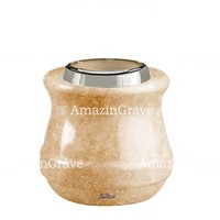 Base for grave lamp Calyx 10cm - 4in In Travertino marble, with steel ferrule