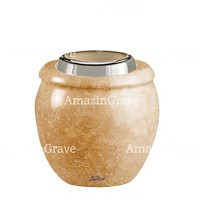 Base for grave lamp Amphòra 10cm - 4in In Travertino marble, with steel ferrule