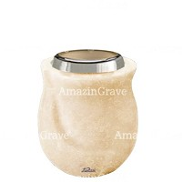 Base for grave lamp Gondola 10cm - 4in In Travertino marble, with steel ferrule