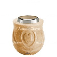 Base for grave lamp Cuore 10cm - 4in In Travertino marble, with steel ferrule