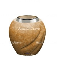 Base for grave lamp Soave 10cm - 4in In Travertino marble, with steel ferrule