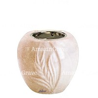Base for grave lamp Spiga 10cm - 4in In Travertino marble, with recessed nickel plated ferrule