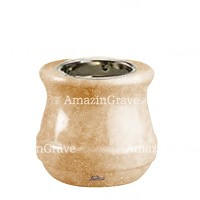 Base for grave lamp Calyx 10cm - 4in In Travertino marble, with recessed nickel plated ferrule