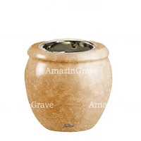 Base for grave lamp Amphòra 10cm - 4in In Travertino marble, with recessed nickel plated ferrule