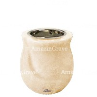 Base for grave lamp Gondola 10cm - 4in In Travertino marble, with recessed nickel plated ferrule