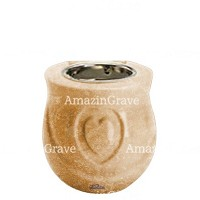 Base for grave lamp Cuore 10cm - 4in In Travertino marble, with recessed nickel plated ferrule