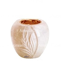 Base for grave lamp Spiga 10cm - 4in In Travertino marble, with recessed copper ferrule