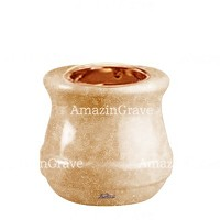 Base for grave lamp Calyx 10cm - 4in In Travertino marble, with recessed copper ferrule