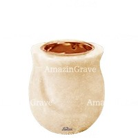 Base for grave lamp Gondola 10cm - 4in In Travertino marble, with recessed copper ferrule