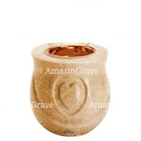 Base for grave lamp Cuore 10cm - 4in In Travertino marble, with recessed copper ferrule