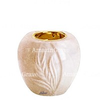 Base for grave lamp Spiga 10cm - 4in In Travertino marble, with recessed golden ferrule
