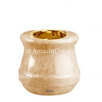 Base for grave lamp Calyx 10cm - 4in In Travertino marble, with recessed golden ferrule