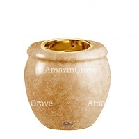Base for grave lamp Amphòra 10cm - 4in In Travertino marble, with recessed golden ferrule