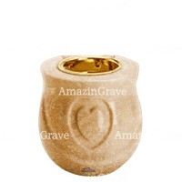 Base for grave lamp Cuore 10cm - 4in In Travertino marble, with recessed golden ferrule