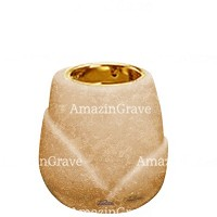 Base for grave lamp Liberti 10cm - 4in In Travertino marble, with recessed golden ferrule