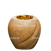 Base for grave lamp Soave 10cm - 4in In Travertino marble, with recessed golden ferrule