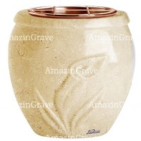 Flowers pot Calla 19cm - 7,5in In Trani marble, copper inner