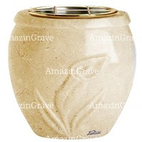 Flowers pot Calla 19cm - 7,5in In Trani marble, golden steel inner