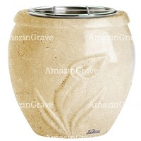 Flowers pot Calla 19cm - 7,5in In Trani marble, steel inner