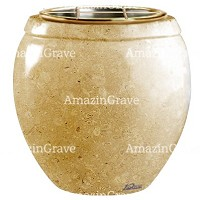 Flowers pot Amphòra 19cm - 7,5in In Trani marble, golden steel inner