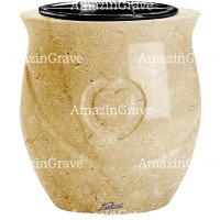 Flowers pot Cuore 19cm - 7,5in In Trani marble, plastic inner