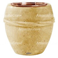 Flowers pot Chordè 19cm - 7,5in In Trani marble, copper inner
