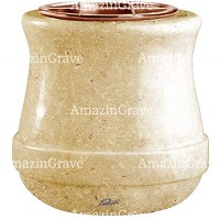 Flowers pot Calyx 19cm - 7,5in In Trani marble, copper inner