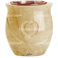 Flowers pot Cuore 19cm - 7,5in In Trani marble, copper inner