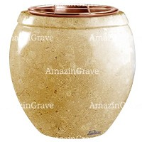 Flowers pot Amphòra 19cm - 7,5in In Trani marble, copper inner