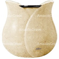 Flowers pot Tulipano 19cm - 7,5in In Trani marble, plastic inner