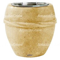 Flowers pot Chordè 19cm - 7,5in In Trani marble, steel inner