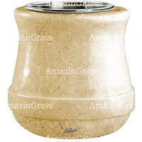 Flowers pot Calyx 19cm - 7,5in In Trani marble, steel inner