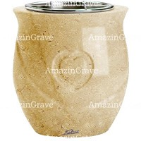 Flowers pot Cuore 19cm - 7,5in In Trani marble, steel inner