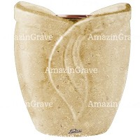 Flowers pot Gres 19cm - 7,5in In Trani marble, copper inner