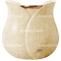 Flowers pot Tulipano 19cm - 7,5in In Trani marble, copper inner