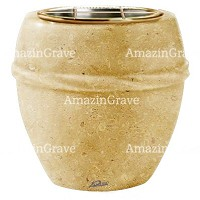 Flowers pot Chordè 19cm - 7,5in In Trani marble, golden steel inner